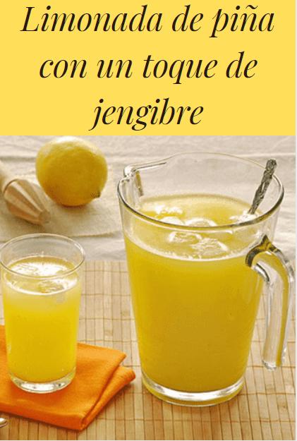 Limonada de piña con un toque de jengibre #receta #piña #pinapple
